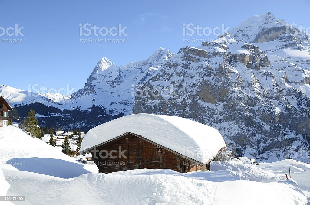 Murren, famous Swiss skiing resort stock photo