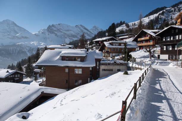 mürren im winter - hotel bern stock-fotos und bilder