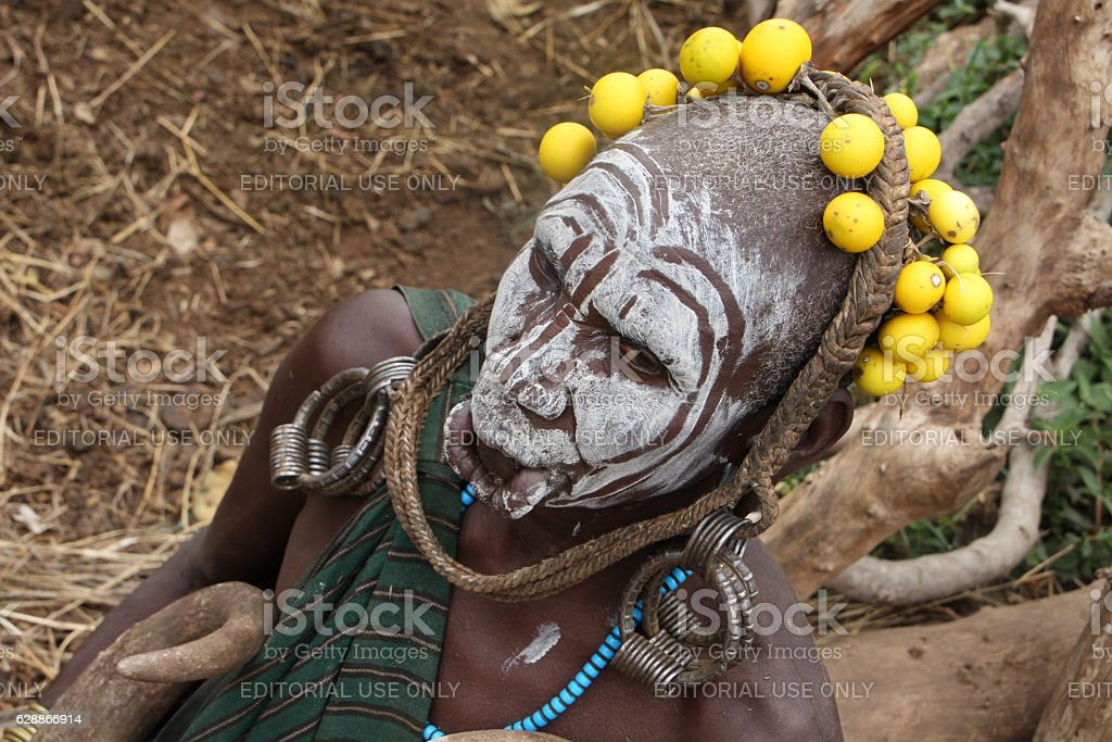 Mursi ethiopian woman portrait stock photo
