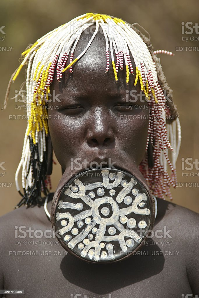 Mursi Woman With Lip Plate stock photo