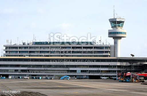 Lagos, Nigeria, Murtala Muhammed International Airport - airside view of the main terminal building and control tower