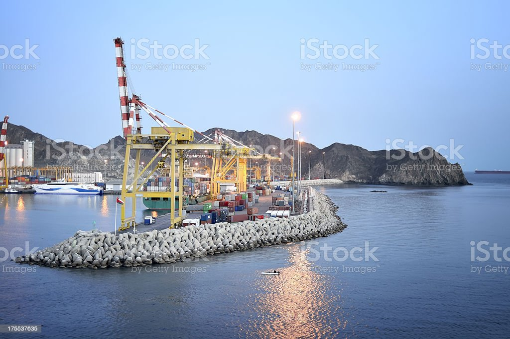 Muscat Port Sultan Qaboos Container Pier royalty-free stock photo