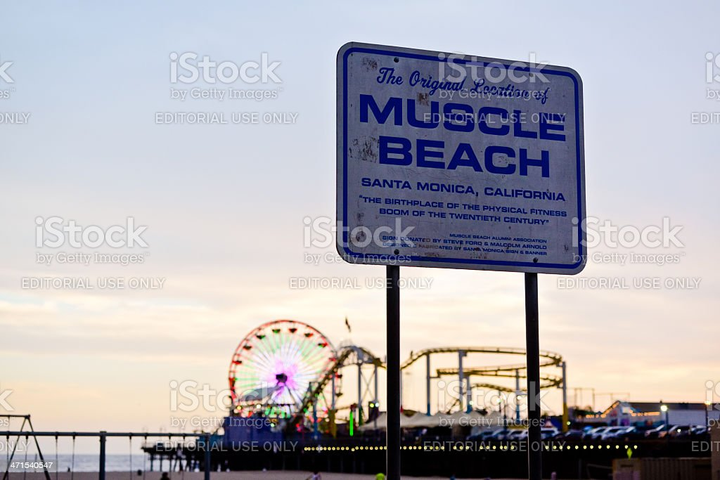 Muscle Beach Sign in Santa Monica, CA, USA royalty-free stock photo