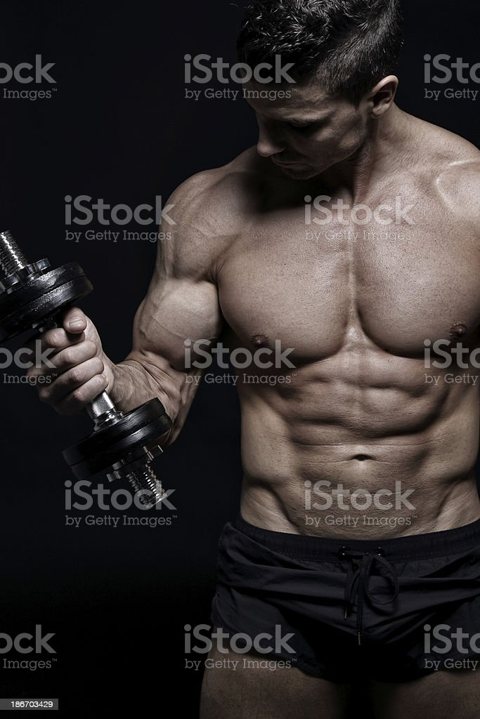 Muscle building royalty-free stock photo