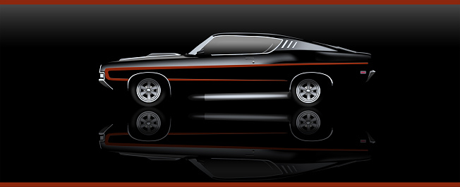 Illustration of a simple Muscle car with clipping mask on a black background
