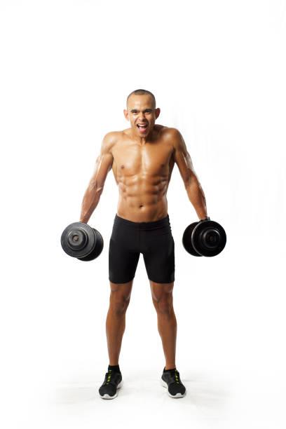 muskel-mann nach übungen - killer workouts stock-fotos und bilder
