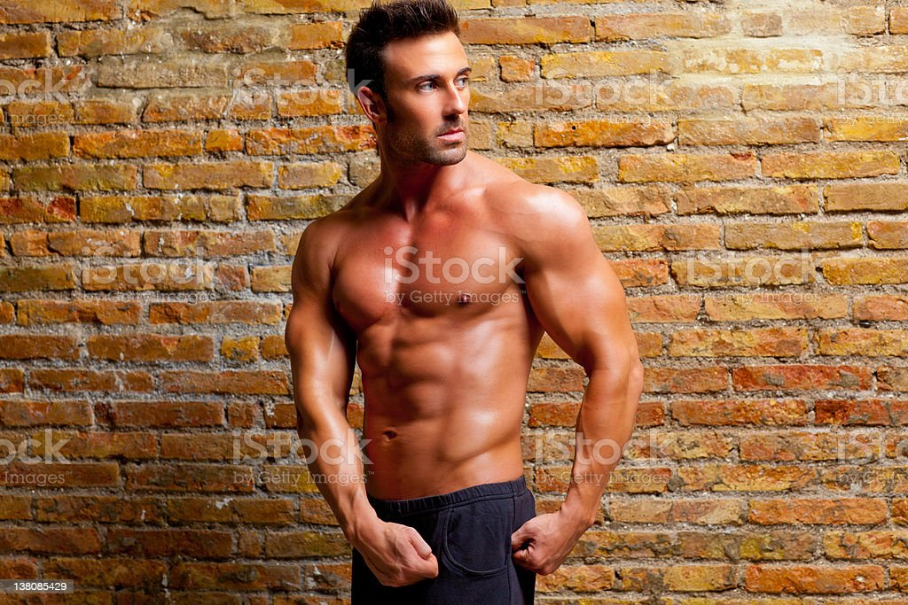 muscle shaped man posing on gym brick wall royalty-free stock photo