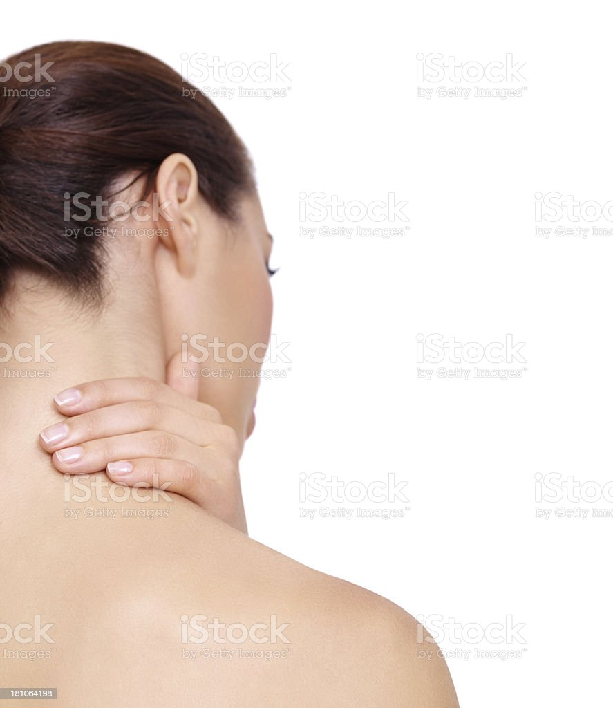 Muscle spasm and pain can be stopped - Copyspace royalty-free stock photo
