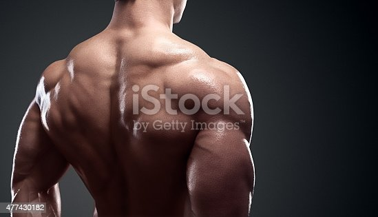 618638418istockphoto Muscled male model showing his back 477430182
