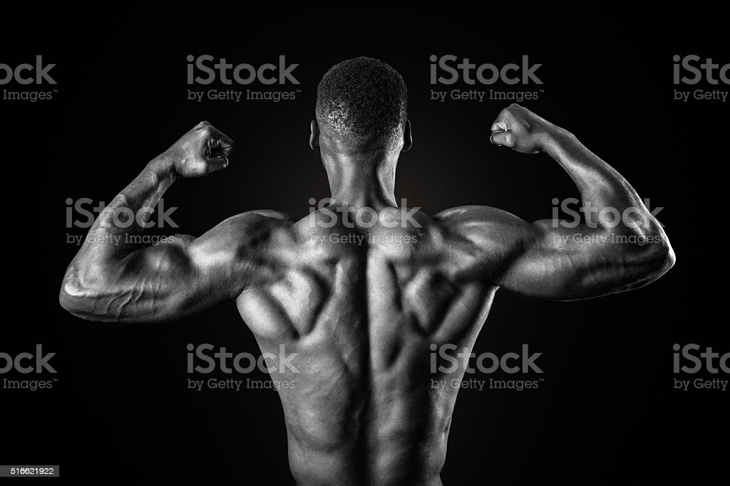Muscular African American Man In Black and White stock photo