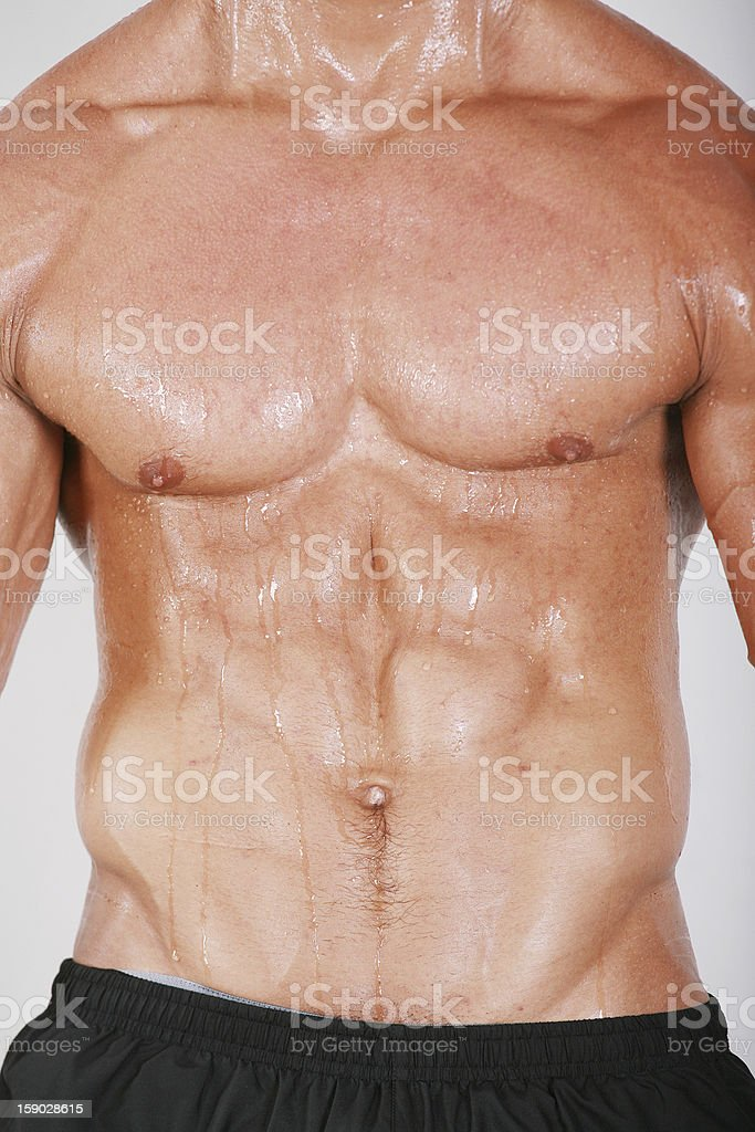 Muscular and tanned male naked torso royalty-free stock photo