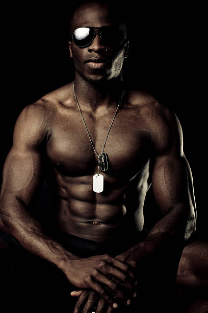 muscular athlete stock photo