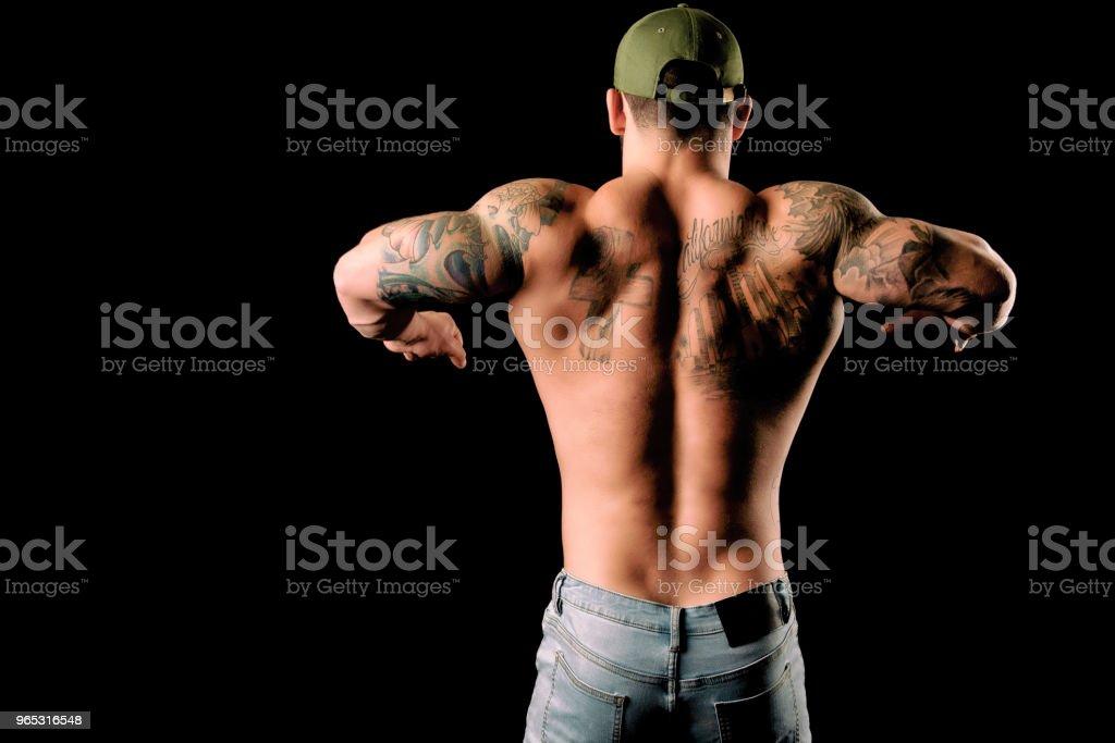Muscular Back Flexed zbiór zdjęć royalty-free