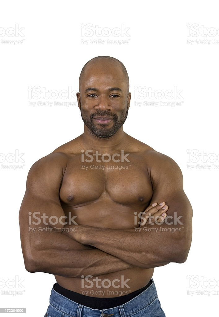 Muscular Black Man with Arms Crossed on Bare Chest royalty-free stock photo