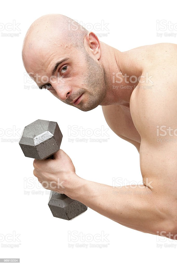 Muscular body builder man with dumbbell royalty-free stock photo