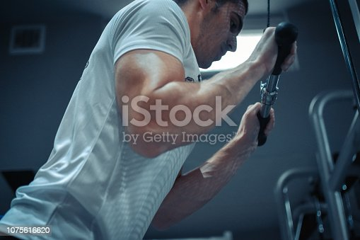 istock Muscular bodybuilder guy doing exercises 1075616620