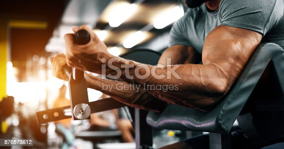 istock Muscular bodybuilder guy doing exercises 876873612