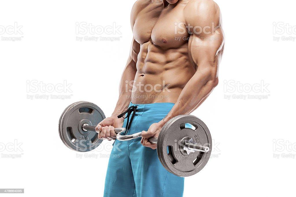 Muscular bodybuilder guy haciendo ejercicios con pesas - Foto de stock de Recortable libre de derechos
