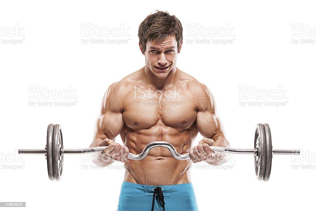 Muscular bodybuilder guy haciendo ejercicios con pesas - Foto de stock de Abdomen libre de derechos