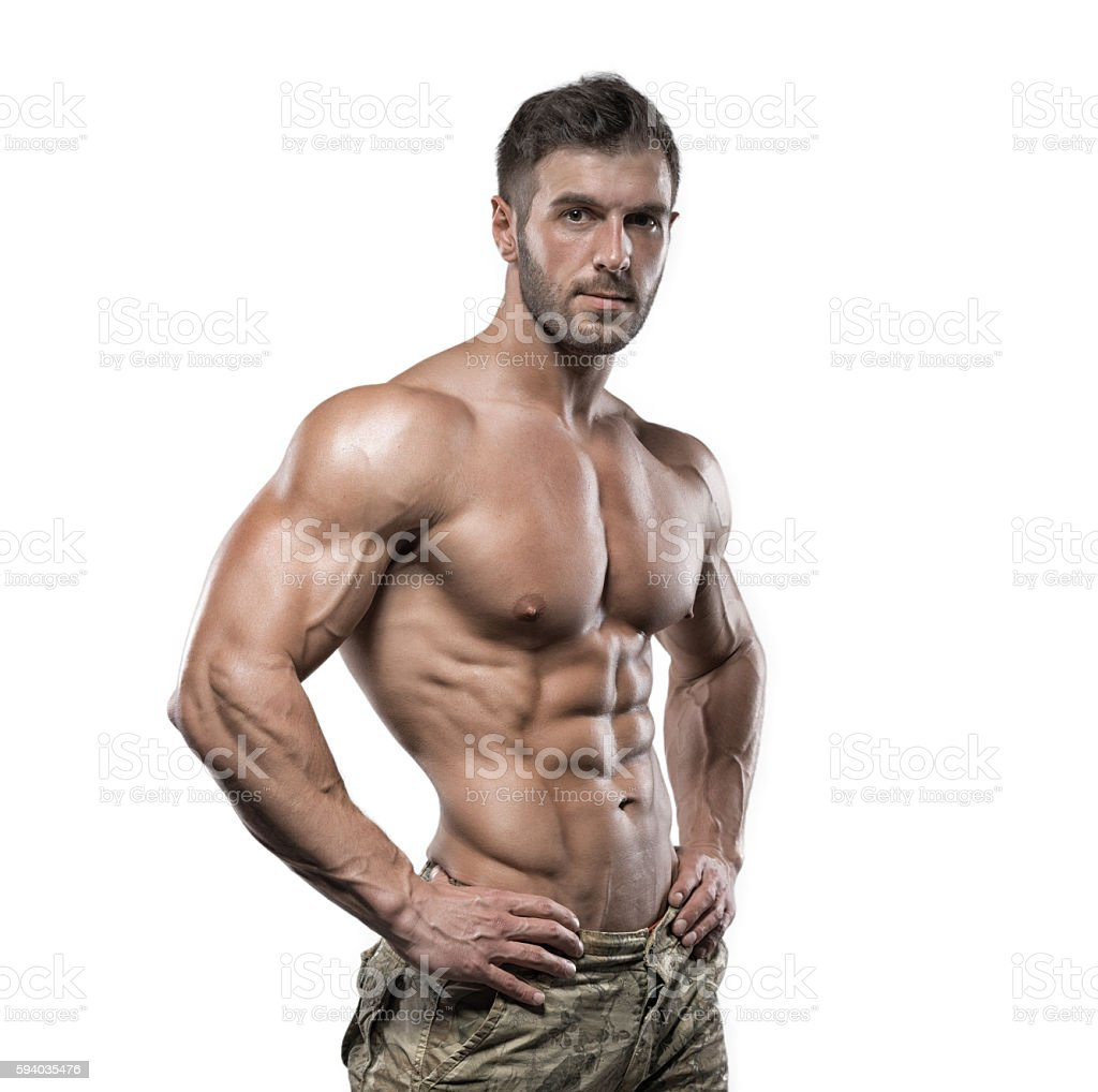 Muscular bodybuilder guy isolated over white background - Royalty-free Abdominal Muscle Stock Photo