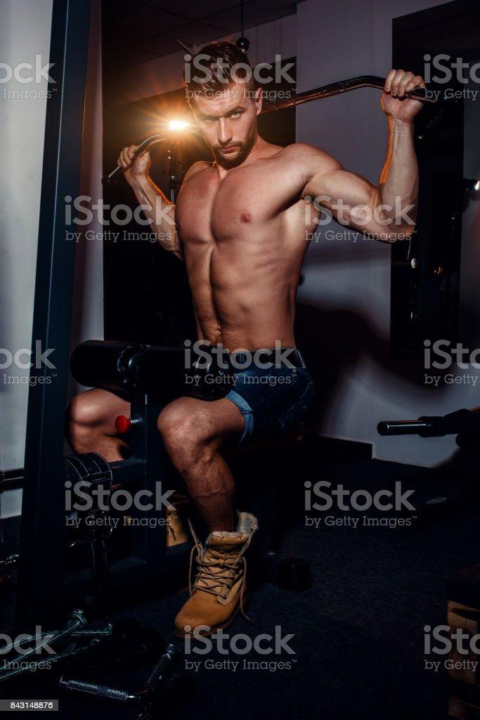 e02e81cb009599 筋肉ボディービルダー ハンサムな男性の裸の胴体とジムでの演習を行い ...