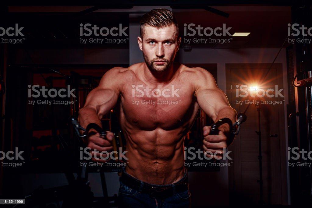Muscular Bodybuilder Handsome Men Doing Exercises In Gym