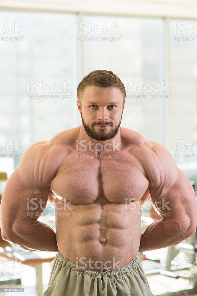 Muscular bodybuilder. stock photo
