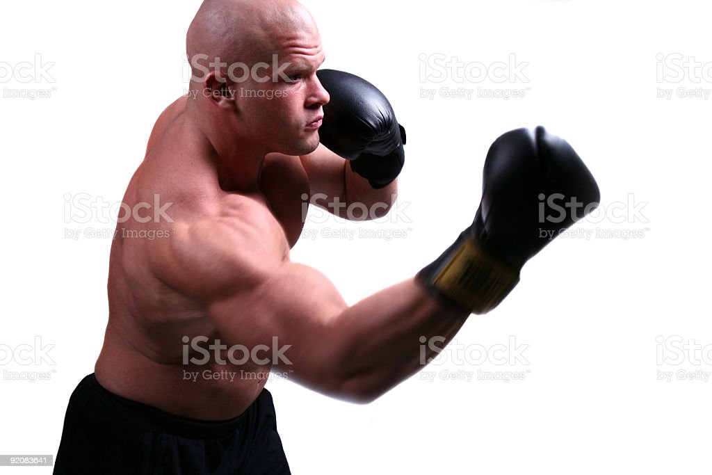 Muscular boxer in action royalty-free stock photo