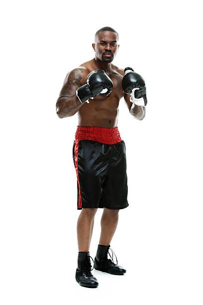 Muscular boxer looking at camera stock photo