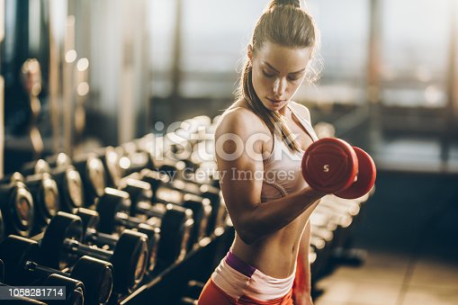 Beautiful athletic woman exercising with dumbbells in a health club.