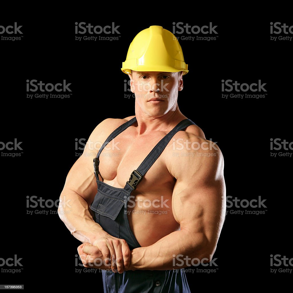 Muscular Construction Worker royalty-free stock photo
