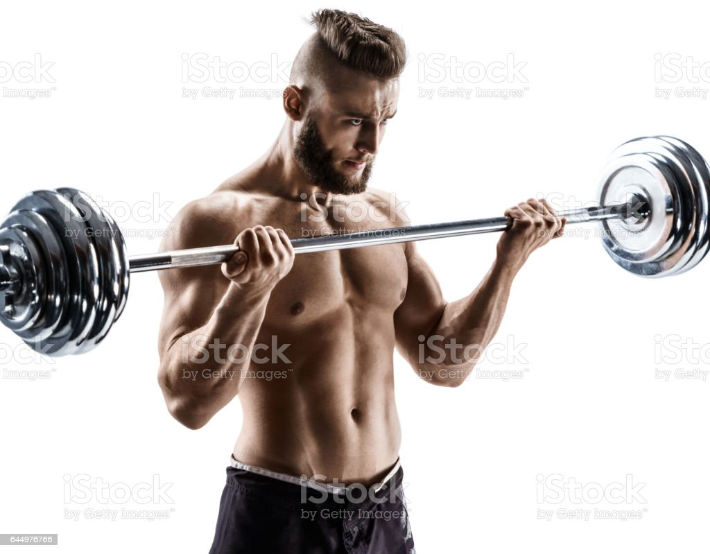 Muscular guy doing exercises with barbell isolated on white background. stock photo