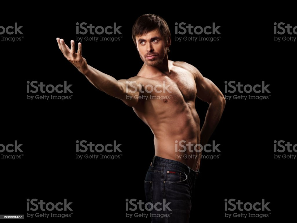 Muscular handsome sexy guy posing royalty-free stock photo