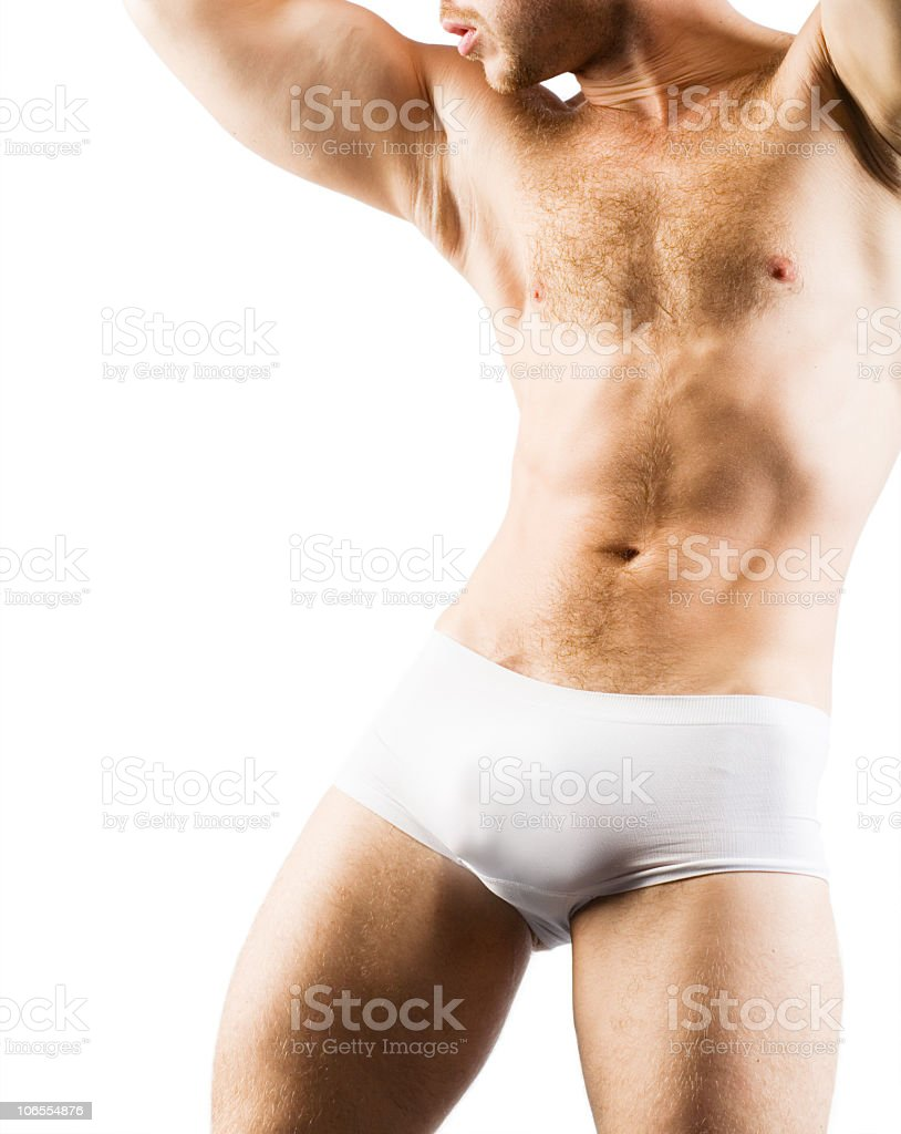 Muscular Male back in white shorts royalty-free stock photo