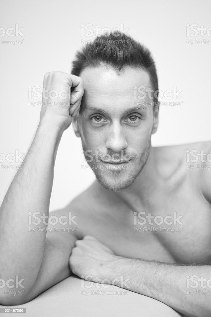 Muscular male bodybuilder on white background foto stock royalty-free