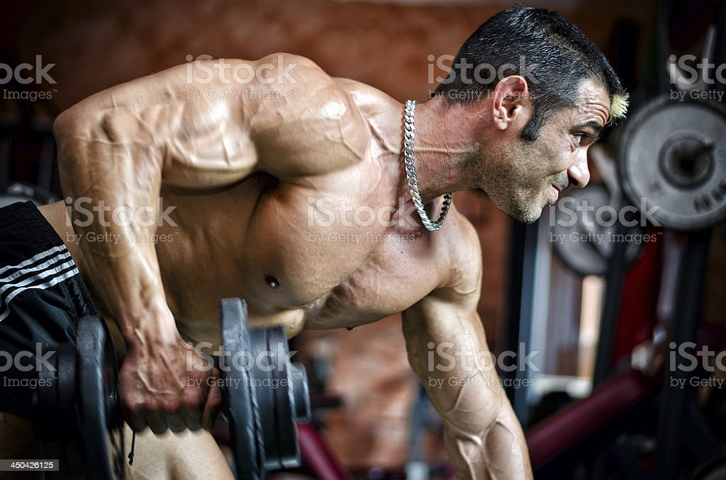 Muscular male bodybuilder working out in gym, exercising triceps royalty-free stock photo