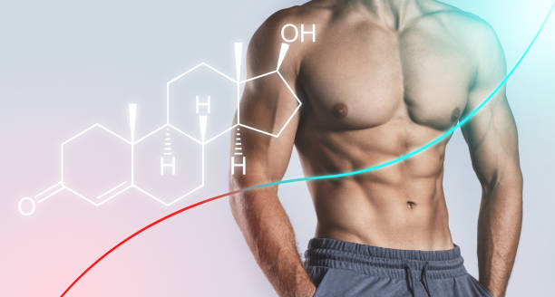 Muscular male torso and testosterone formula. Concept of hormone increasing methods. stock photo