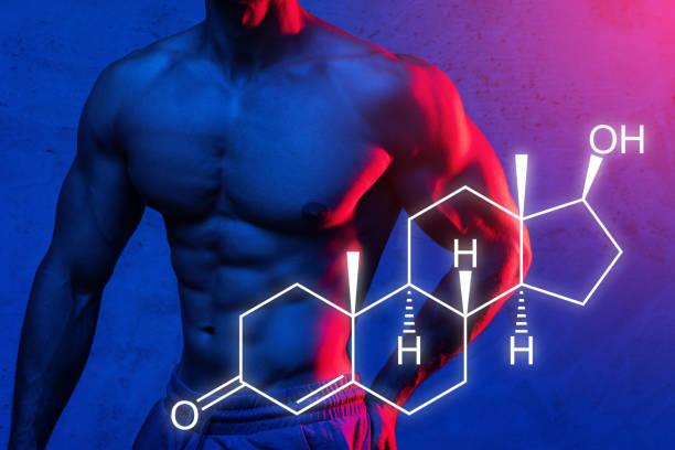 Muscular male torso and testosterone formula stock photo