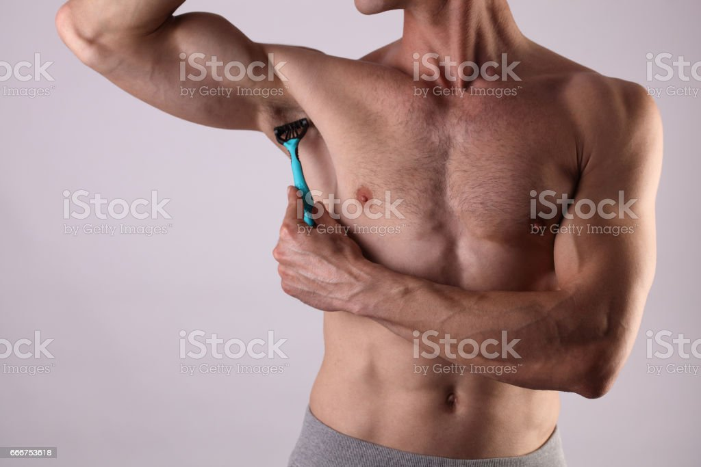 Muscular Male Torso Close Up Chest And Armpit Underarm Hair Removal