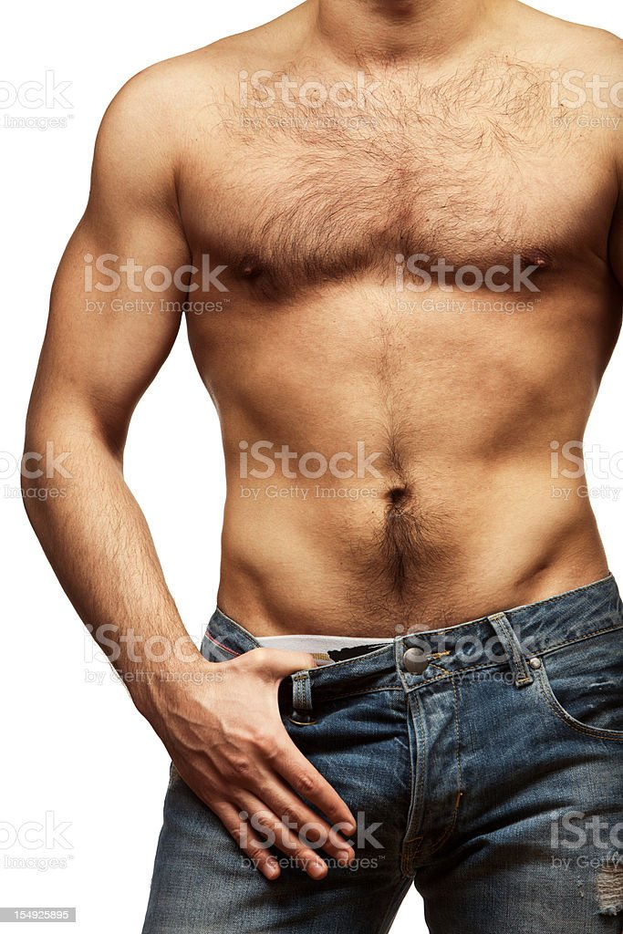 Muscular male torso isolated on white background royalty-free stock photo