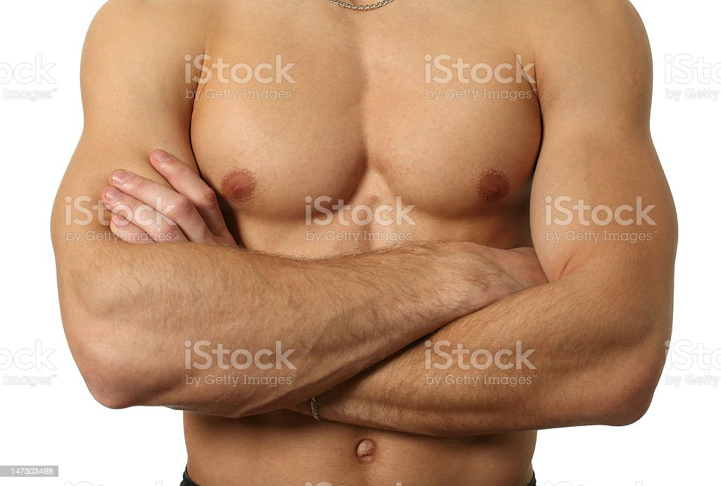 Muscular Male Torso Isolated on White royalty-free stock photo