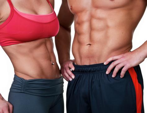 Muscular male and female torso