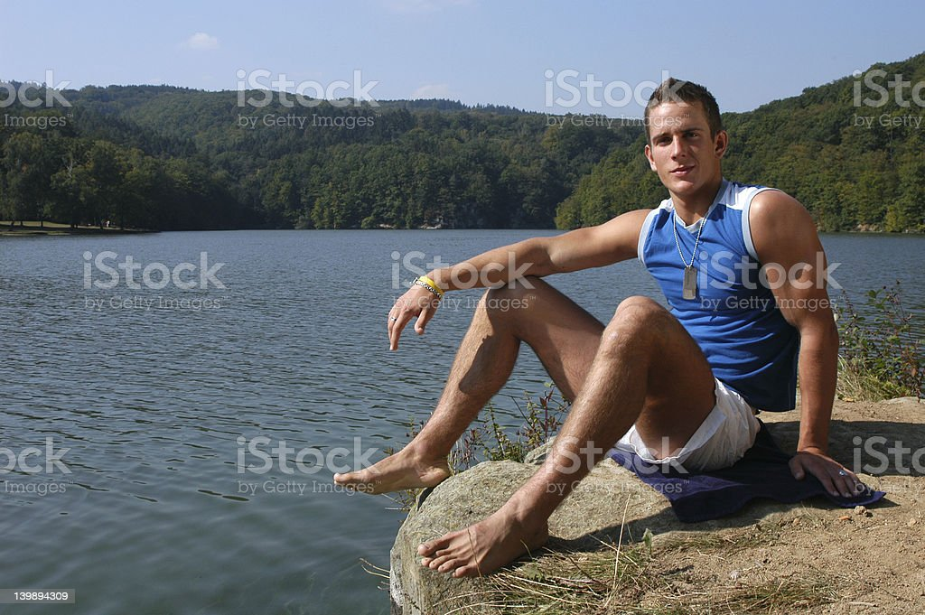 Muscular Man at the Beach royalty-free stock photo