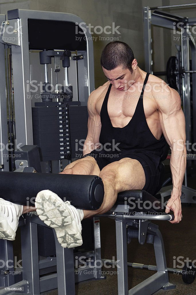 Muscular man doing legs workout in fitness club royalty-free stock photo