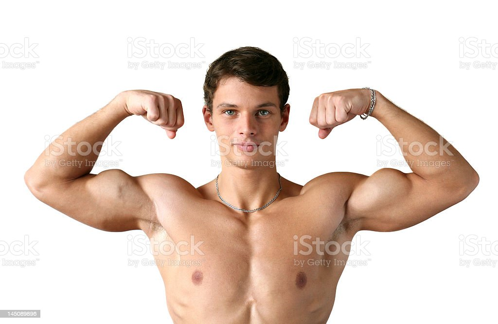 Muscular Man Flexing His Biceps royalty-free stock photo