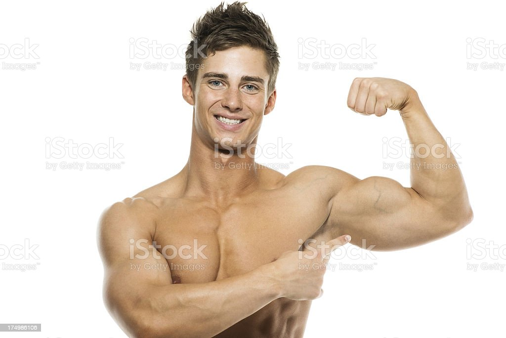 Muscular man flexing his muscles royalty-free stock photo