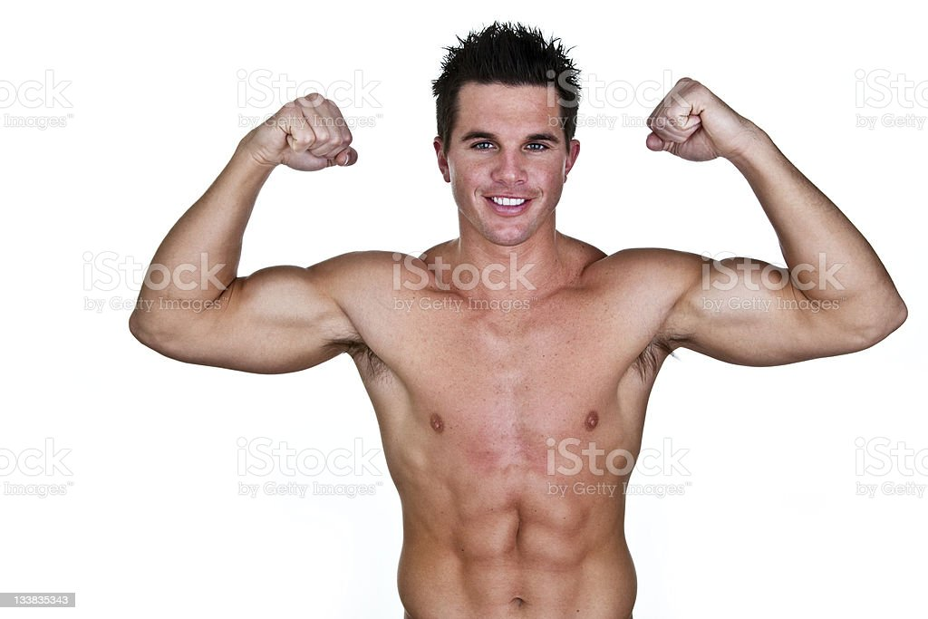 Muscular man flexing royalty-free stock photo