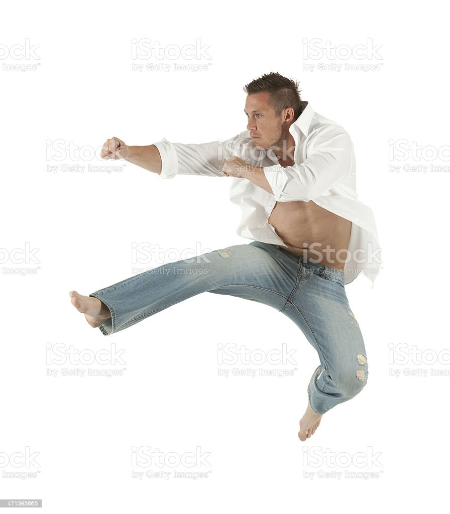 Muscular man in action stock photo