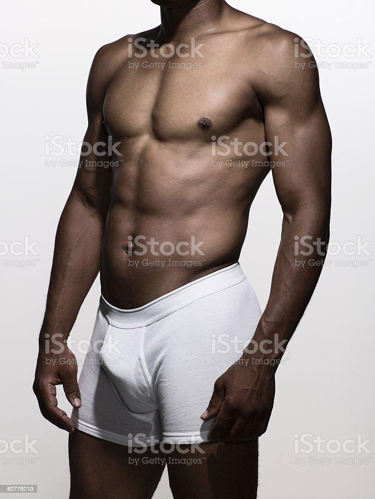 muscular man in boxer-brief underwear royaltyfri bildbanksbilder