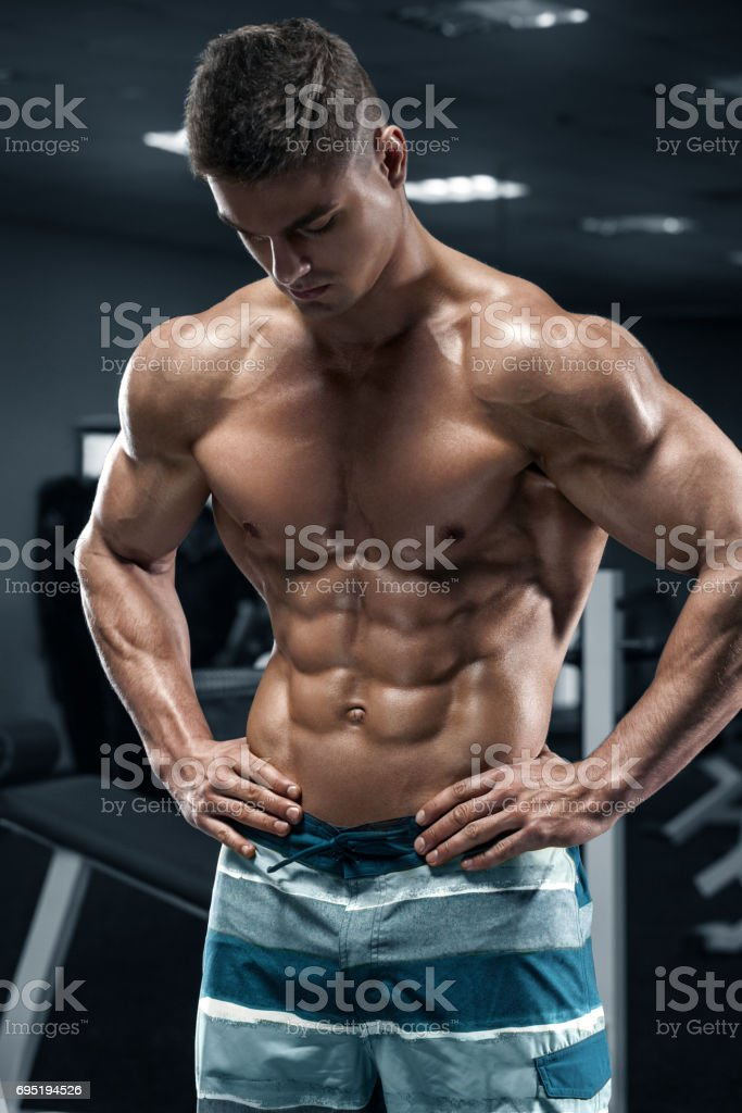 Sexy Muscular Man Posing Gym Shaped Stock Photo (Edit Now